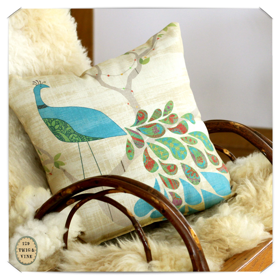 www.129twigandvine.com — Mod Peacock PIllow, art by Sue Schlabach