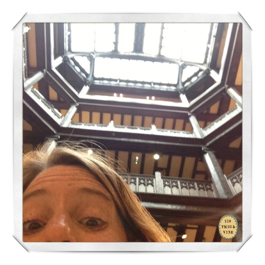 129twigandvine, © Sue Schlabach, selfie in Liberty, London