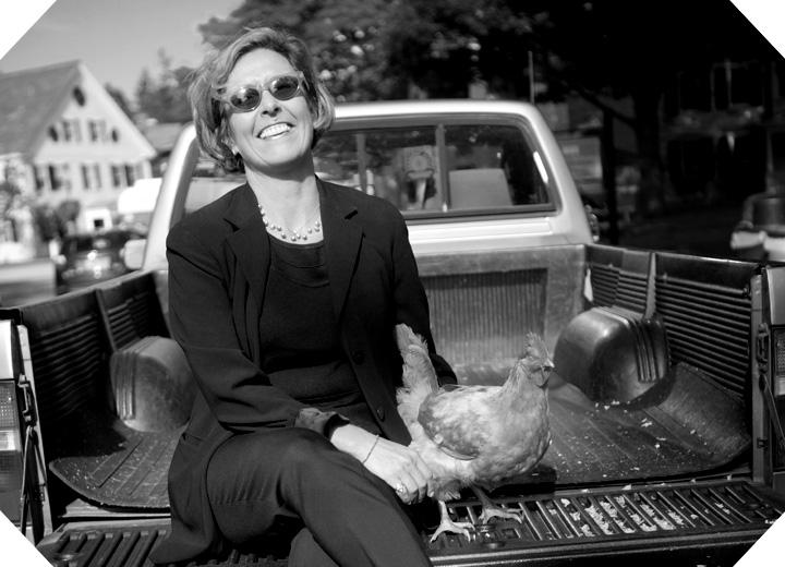 129twigandvine Tori Lloyd and her well-loved chicken Wanda. Woodstock, Vermont.